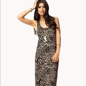 Forever 21 Animal Print Maxi Dress, size small
